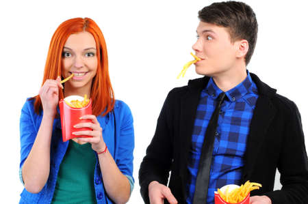 young people eating fast food Stock Photo