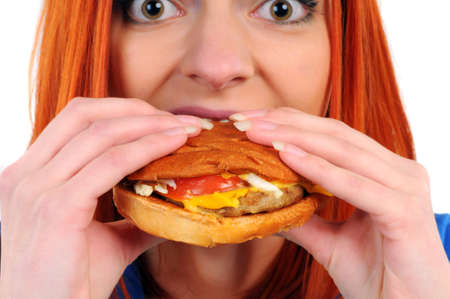 woman eat burger photo