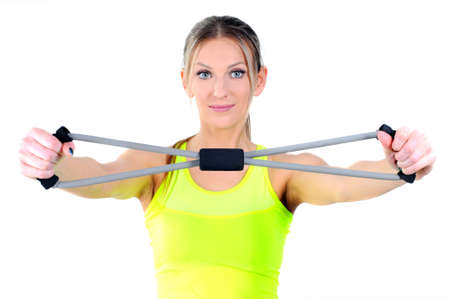 stretchy: Beautiful healthy fitness woman exercising Stock Photo