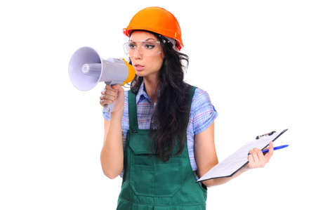 superintendent: Young female construction superintendent with megaphone and clipboard on a white background