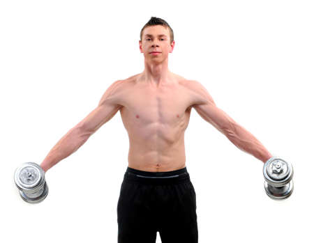 Fitness - powerful muscular man lifting weights Stock Photo - 20817801