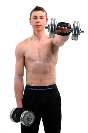 Fitness - powerful muscular man lifting weights Stock Photo - 20817850