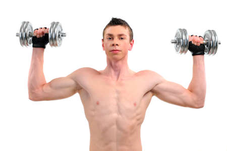 Fitness - powerful muscular man lifting weights Stock Photo - 20817853