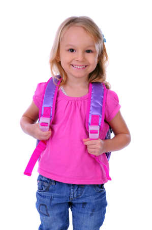 6 year old: child school bag on a white background