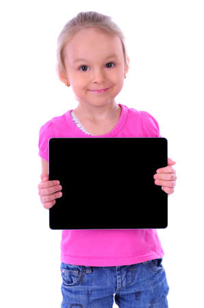 pre schooler: child holding a tablet on a white background
