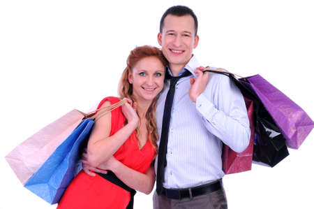 Boy and girl brings bags in different colors  Stock Photo - 20818724