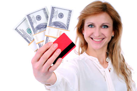 woman holding credit card in hand photo