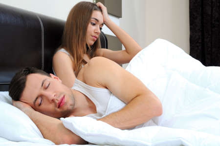 nude wife: Attractive woman grieves while her husband is sleeping at home