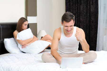 Poor woman, because her husband is in bed, relationship problems photo