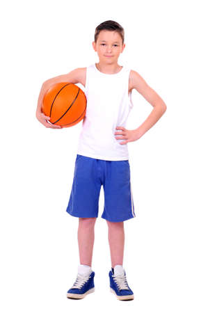 youth sports: child with basketball, isolated on white background