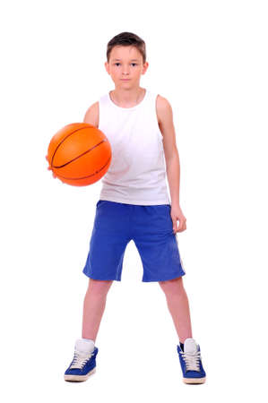 child with basketball, isolated on white background photo