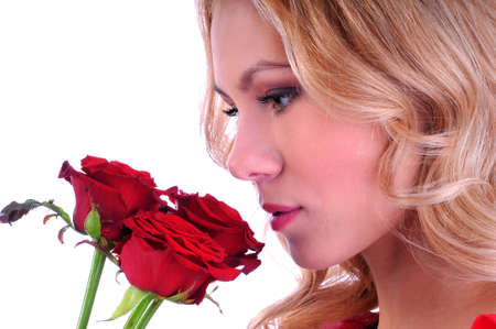women s health: Portrait of a beautiful girl with a rose  Valentines day