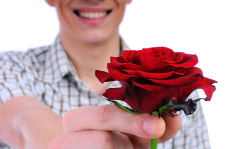 suitor: young boy with a flower in your hand