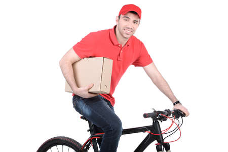 mail man: Mail man on a bicycle bringing mail isolated on white background