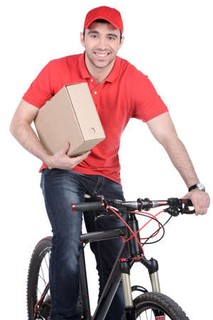 Mail man on a bicycle bringing mail isolated on white background photo