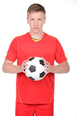 Portrait of professional soccer player. Isolated on white photo
