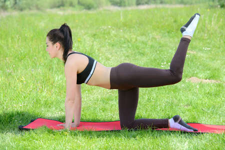 Beautiful strong sporty brunette woman doing pushup exercises on a yoga mat in the park photo