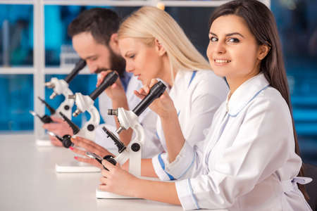 pharmacy equipment: Science team working with microscopes in a laboratory. Stock Photo