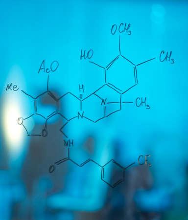 chemistry formula: On glass written chemistry formula in laboratory.