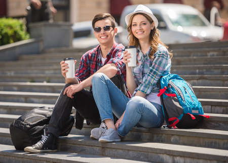 Attractive tourist couple relaxing sightseeing and enjoying traveling together.