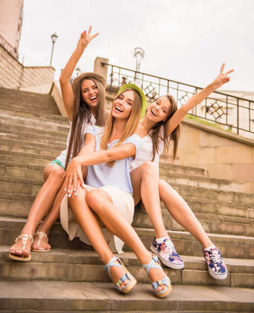 hen party: Holidays and tourism, friends, hen party, three beautiful women in the city