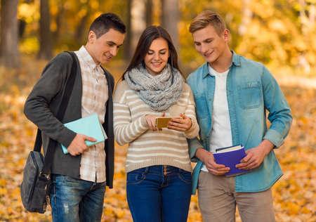 muchas personas: Grupo de estudiantes jóvenes mientras camina parque del otoño