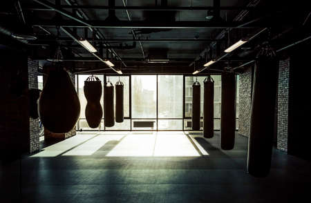 gym: Empty modern fight club with punching bags of different shapes for practicing martial arts Stock Photo