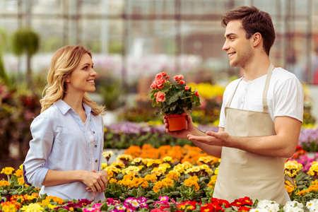 mandil: Apuesto joven en el delantal está sonriendo al tiempo que ofrece plantas para Mujer en invernadero