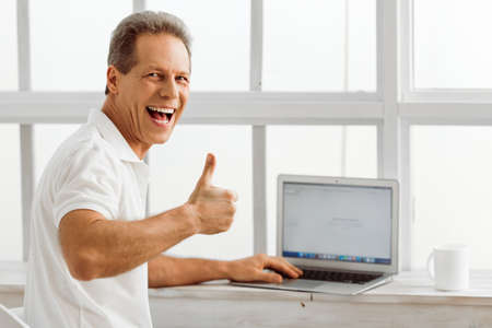 old sign: Side view of middle aged man using a laptop, showing Ok sign and smiling while sitting on a chair near the window at home Stock Photo