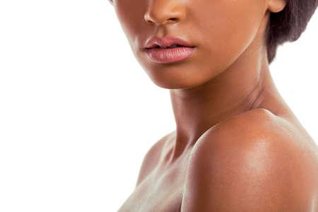 mulatto woman: Portrait of beautiful sensual Afro American girl, on a white background, close up Stock Photo