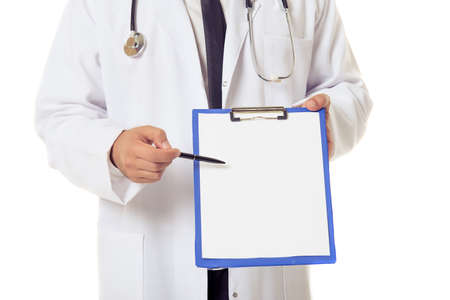 it is isolated: Cropped image of handsome doctor in white coat holding a folder and pointing on it, isolated on white background