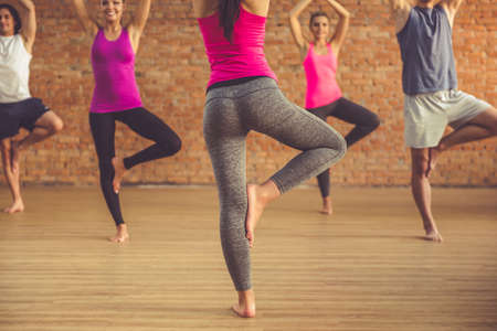 tree position: Cropped image of beautiful sports people standing in tree position while doing yoga with trainer in modern fitness hall Stock Photo