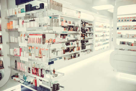 Modern pharmacy with variety of medications and cosmetics for everyone 免版税图像