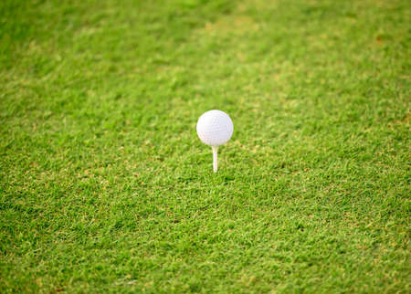 Close-up of a white golf ball on green grass of golf course Stock Photo