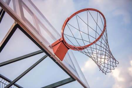 Low angle view of basketball hoop in outdoor court