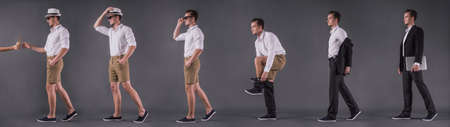Six full-length back-view images of handsome young businessman taking off his suit, changing into casual wear and taking cocktail, on gray background Stock Photo