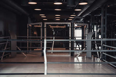 Modern boxing ring in the gym, lights on the ceiling are turned on Reklamní fotografie
