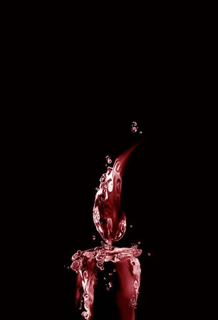 A lighted dark red water candle made from red liquid. 스톡 콘텐츠