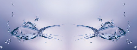 Two fish made of water swimming away from each other in water.