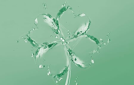 A green four-leaf clover made of water for Saint Patricks Day.