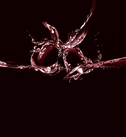 Silhouette of two red bells made of water in a ringing motion, on black.