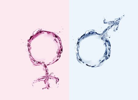 Male and female symbols made of water in blue and pink.