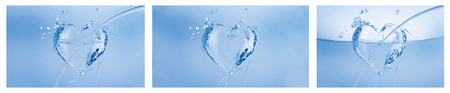A collage of three blue hearts made of water on white.