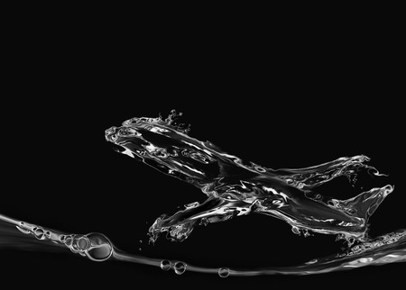 An airplane made of water flying upwards in black.