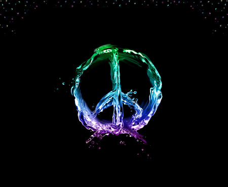 The peace & love symbol made of multicolored liquid on black and framed with bubbles.
