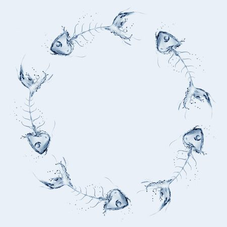 Water fishbones circling around each other in blue water. Archivio Fotografico