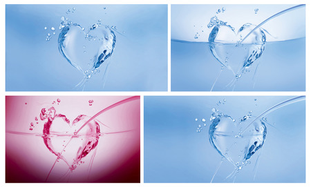A collage of three blue hearts made of water and a dark pink one on white.