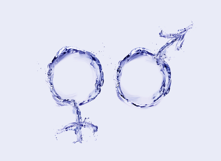 Male and female symbols made of water in blue. 스톡 콘텐츠