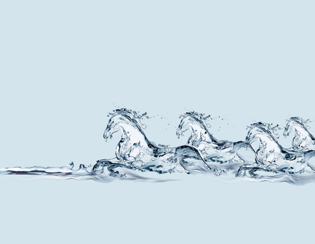 A group of horses made of water galloping in water. 스톡 콘텐츠