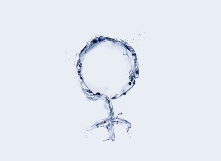 Female symbol made of water in blue. 스톡 콘텐츠